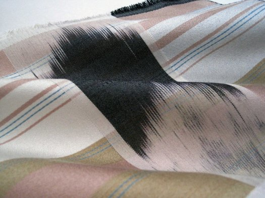 Hand woven satin ikat sample
