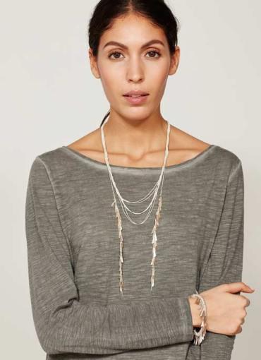 Mint Velvet side drop tassel necklace