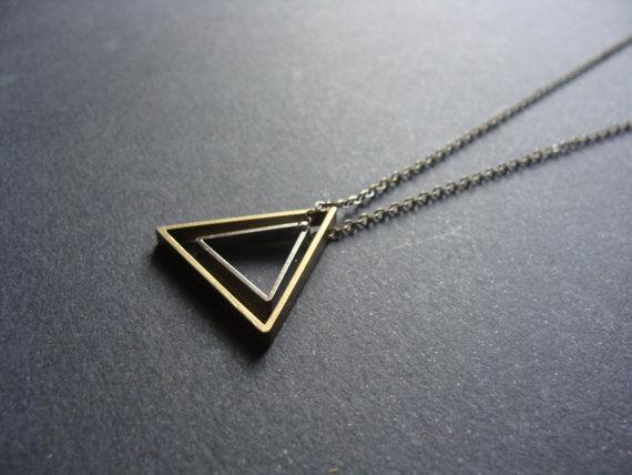 Silver brass triangle necklace - AptoArt